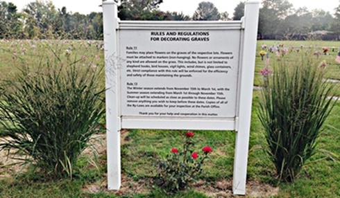Cemetery Rules Sign